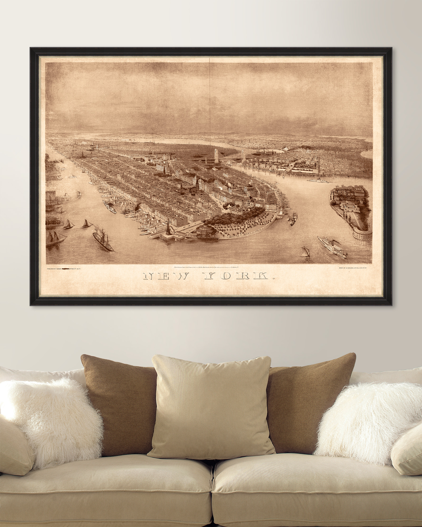 Tablou Framed Art New York 1874 Birdeye Map