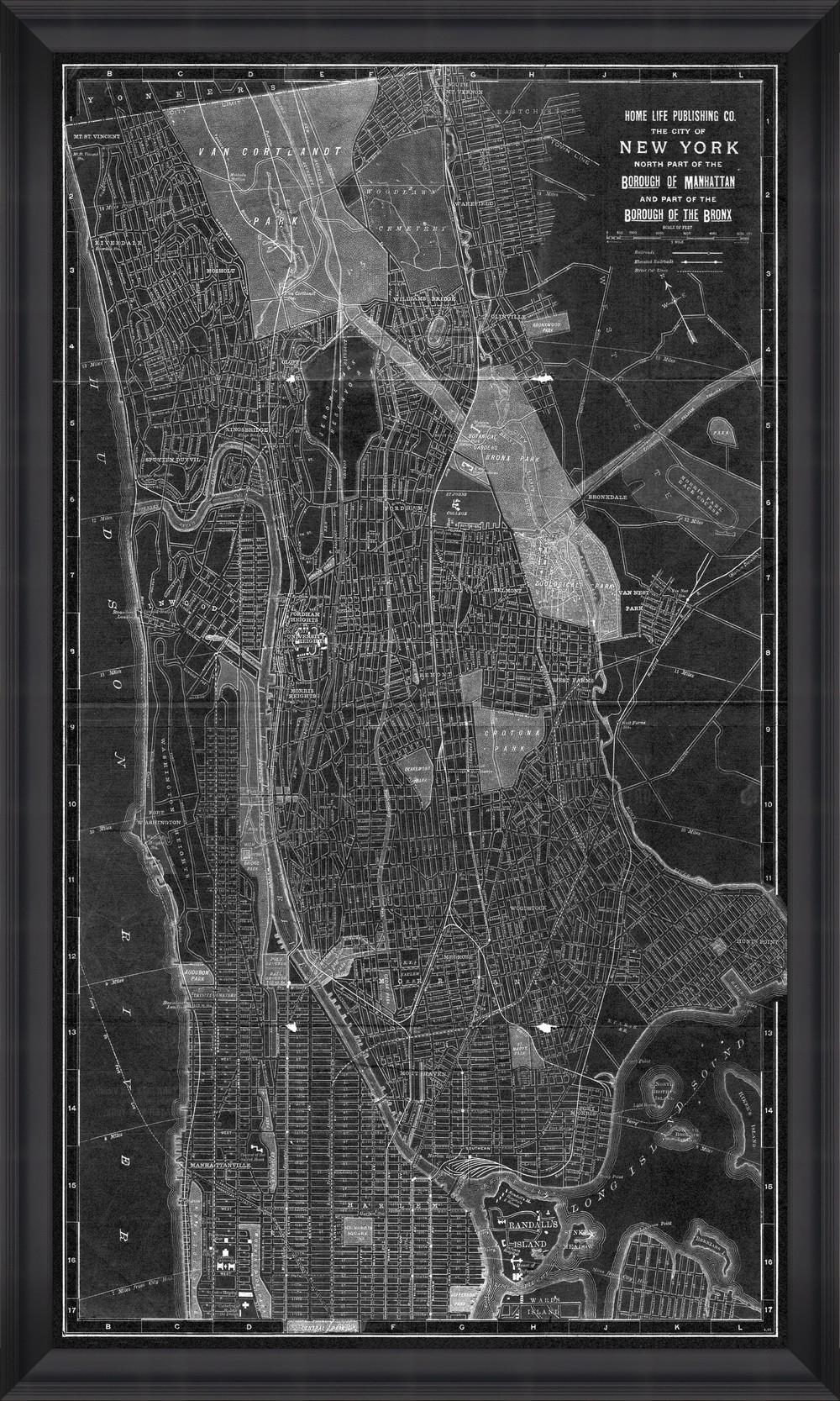 Tablou Framed Art New York Manhattan Map I somproduct.ro