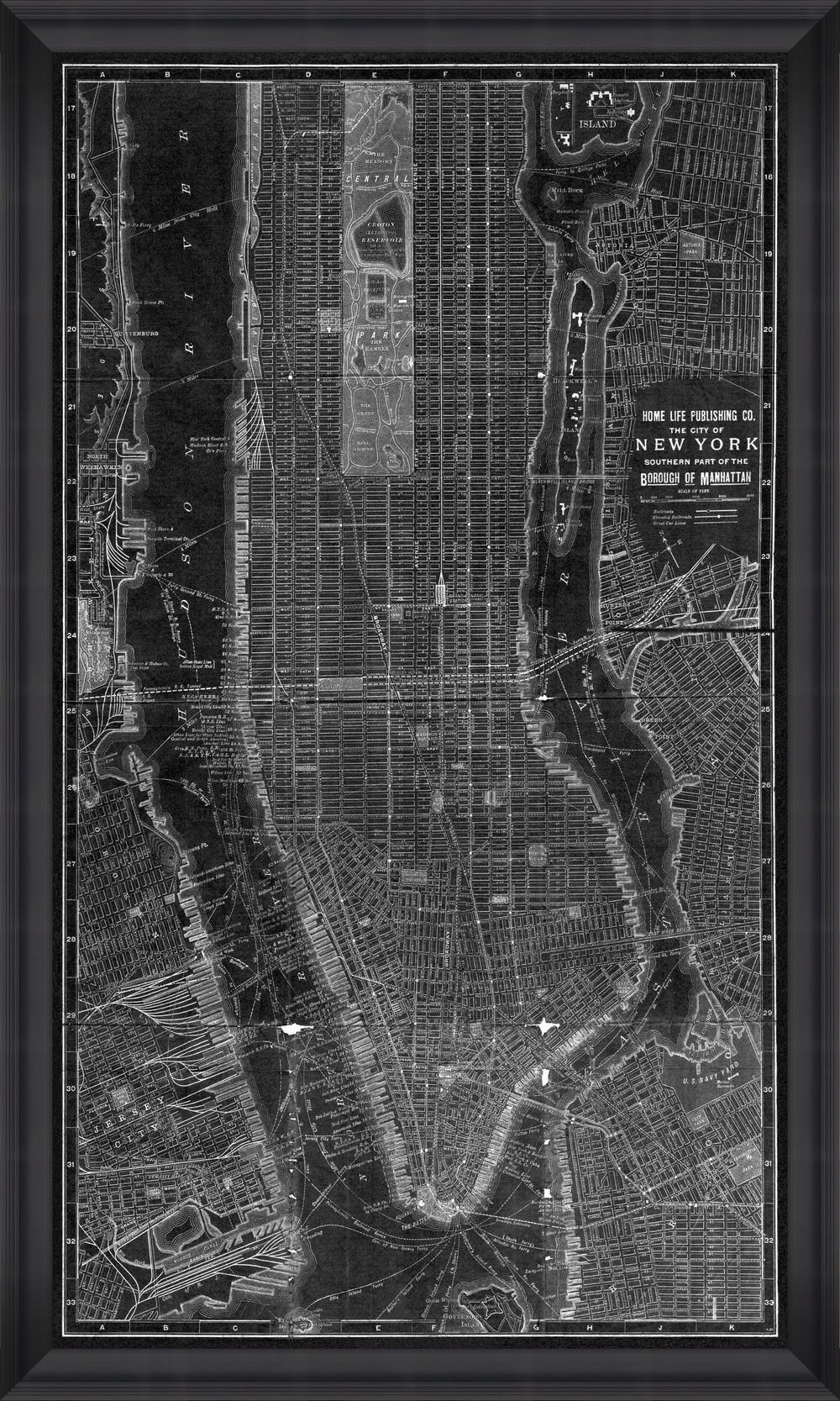 Tablou Framed Art New York Manhattan Map II