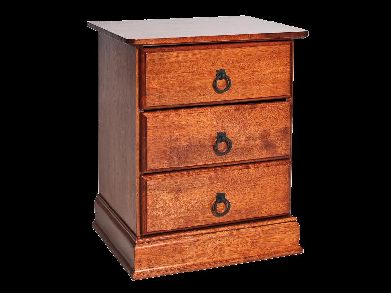 Noptiera din lemn si MDF, cu 3 sertare Boston Cires, l48xA40xH58 cm