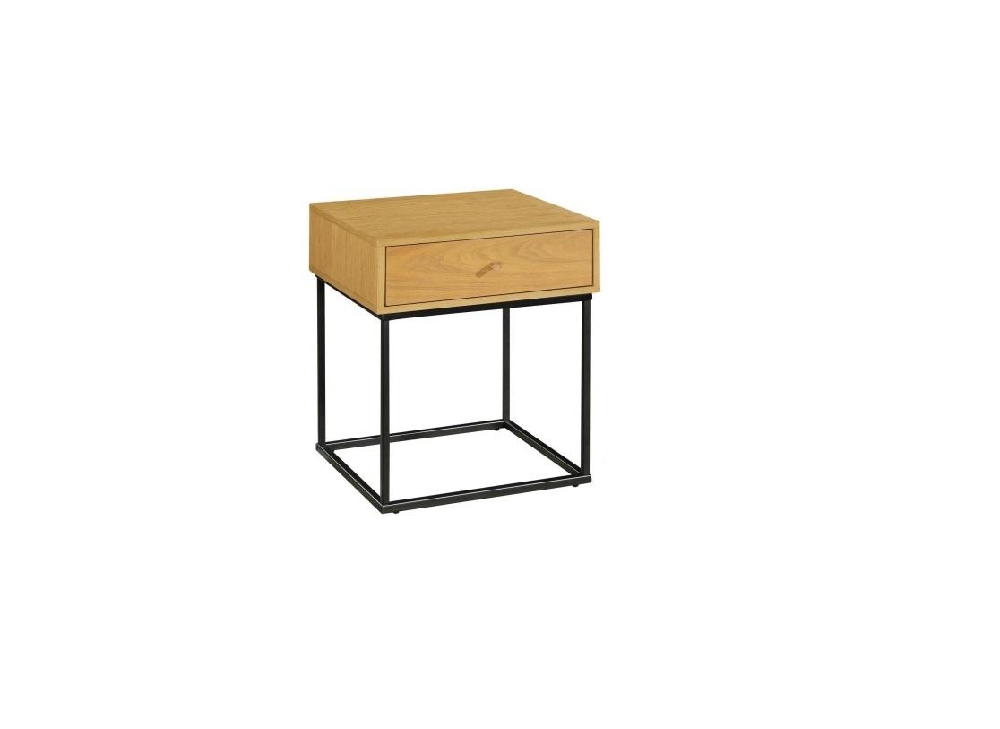Noptiera Din Furnir Si Metal, Cu 1 Sertar Loft A1 Natural Oak / Black, L50xa45xh60 Cm