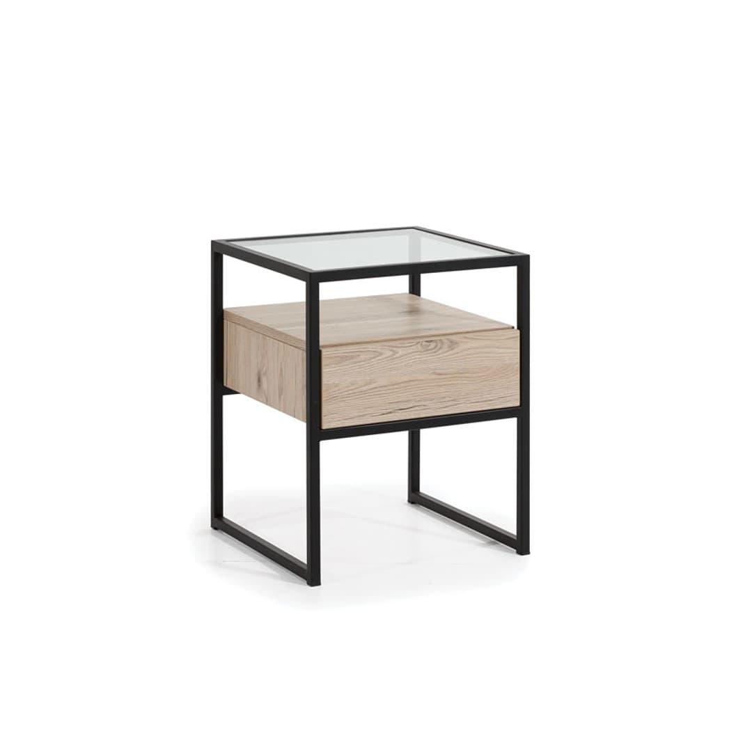 Noptiera din pal cu 1 sertar, Glass Loft Natural / Negru, l45xA45xH55 cm somproduct.ro