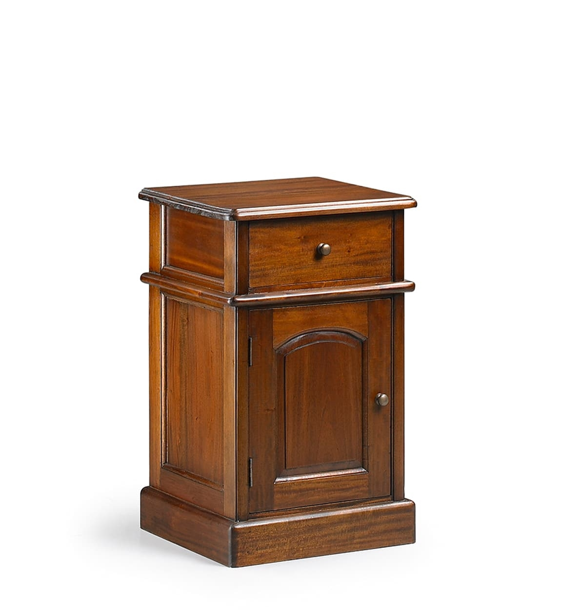 Noptiera din lemn cu 1 sertar si 1 usa, Vintage Nuc, l40xA40xH65 cm somproduct.ro