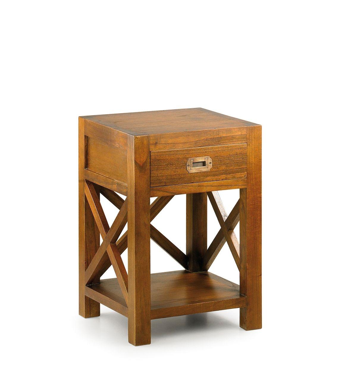 Noptiera din lemn, cu 1 sertar Star Nuc, l40xA40xH60 cm somproduct.ro