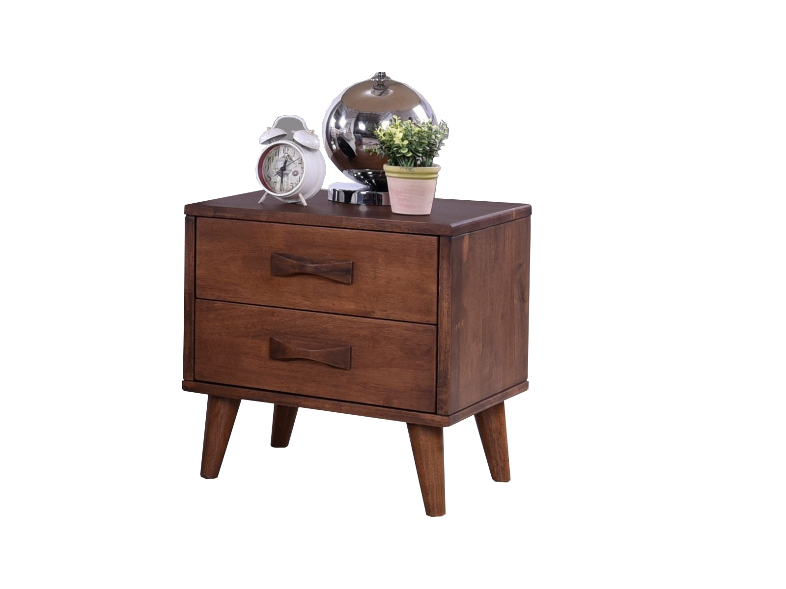 Noptiera din lemn cu 2 sertare Emily Walnut, l47xA40xH50 cm somproduct.ro