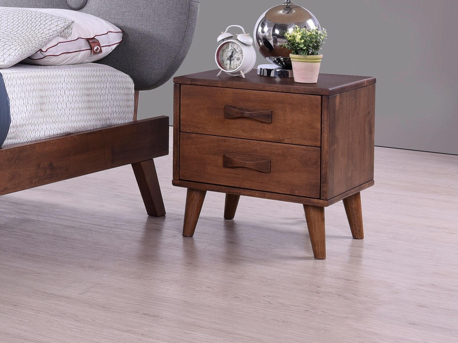 Noptiera din lemn cu 2 usi Emily Grey l58xA40xH56 cm