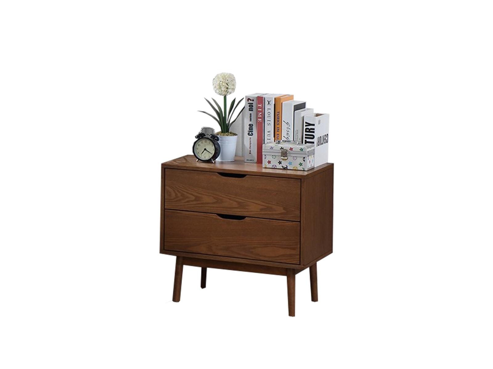 Noptiera din lemn cu 2 sertare Frida Nuc, l58xA40xH56 cm