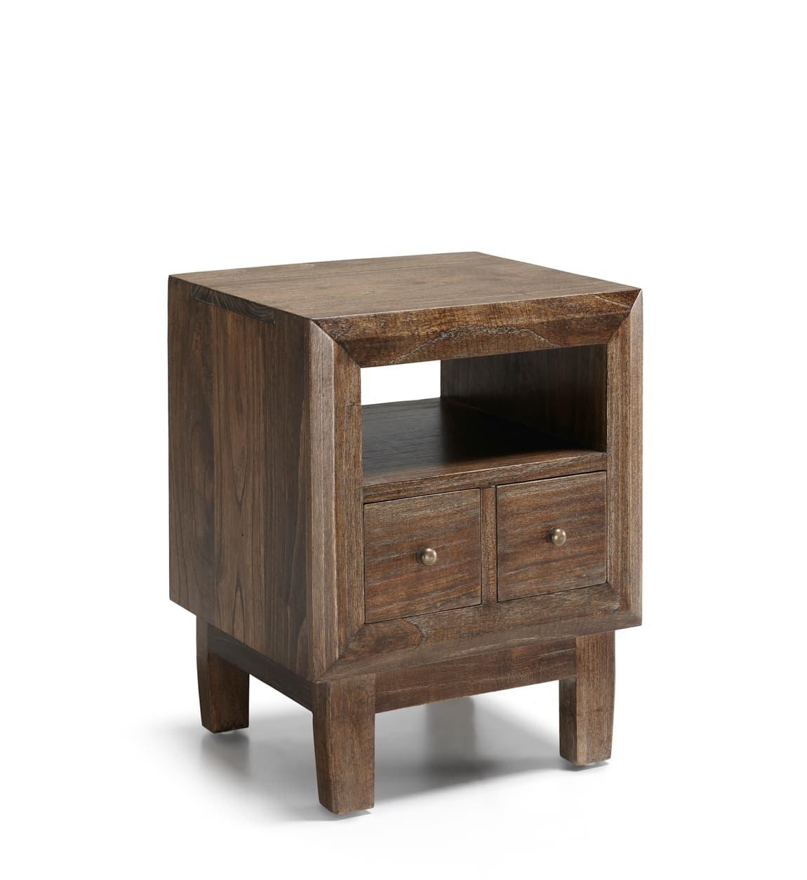 Noptiera din lemn cu 2 sertare, Sindor Natur, l45xA40xH55 cm somproduct.ro