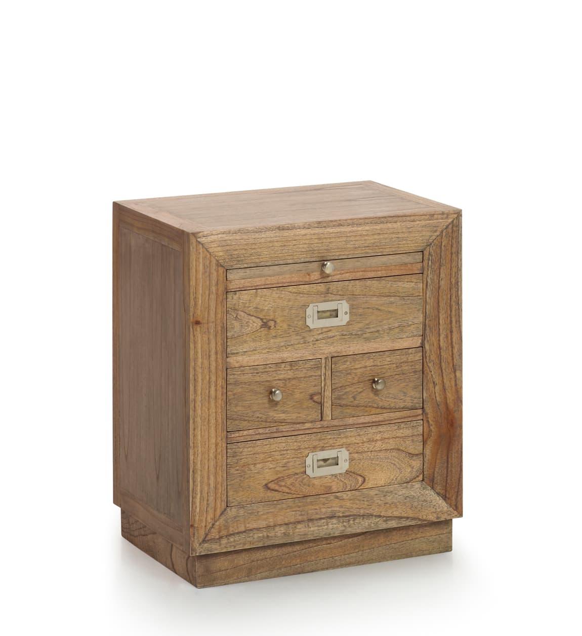 Noptiera din lemn cu 4 sertare, Merapi Natural, l50xA40xH60 cm somproduct.ro