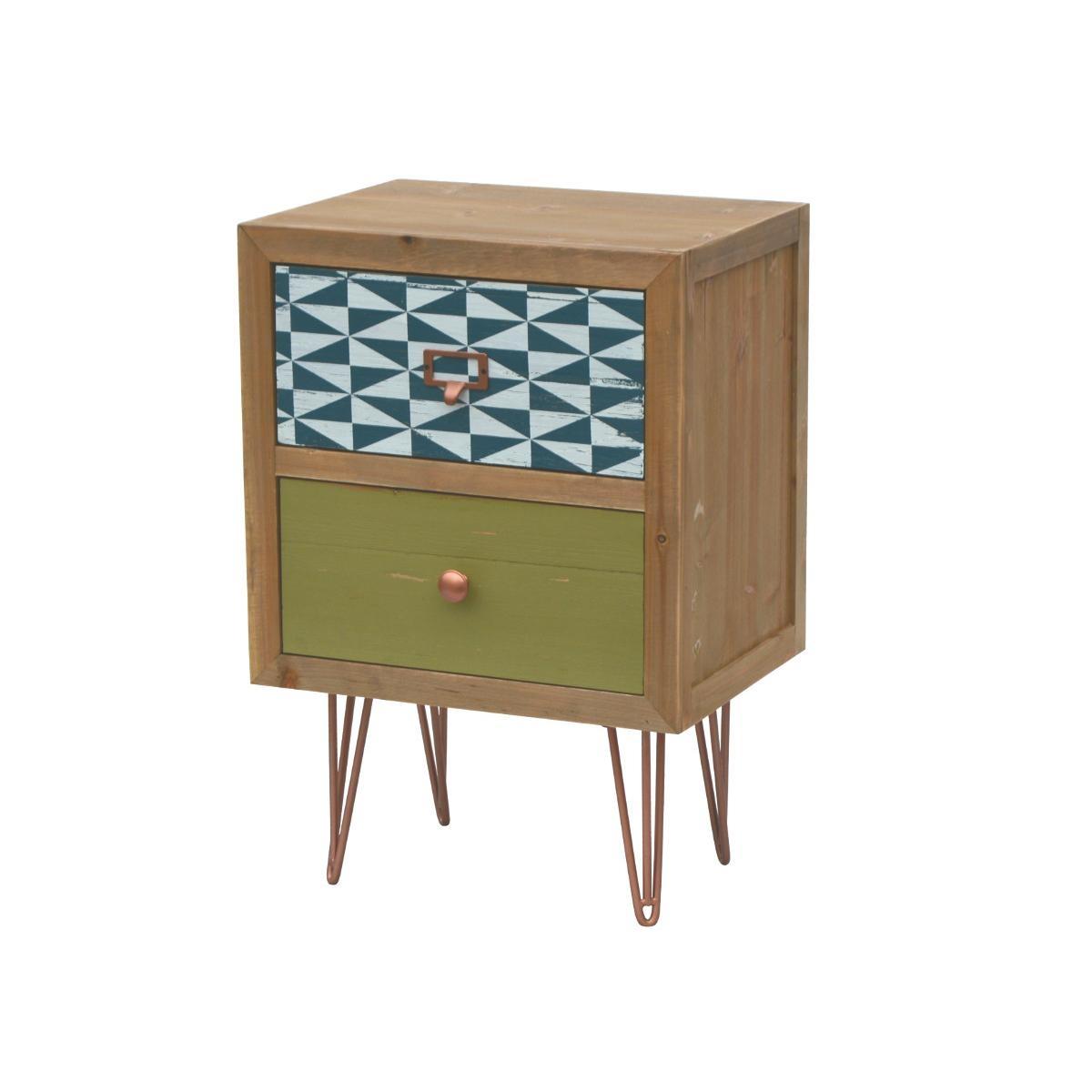 Noptiera din lemn de brad, Portofino F001, l40xA30xH59 cm