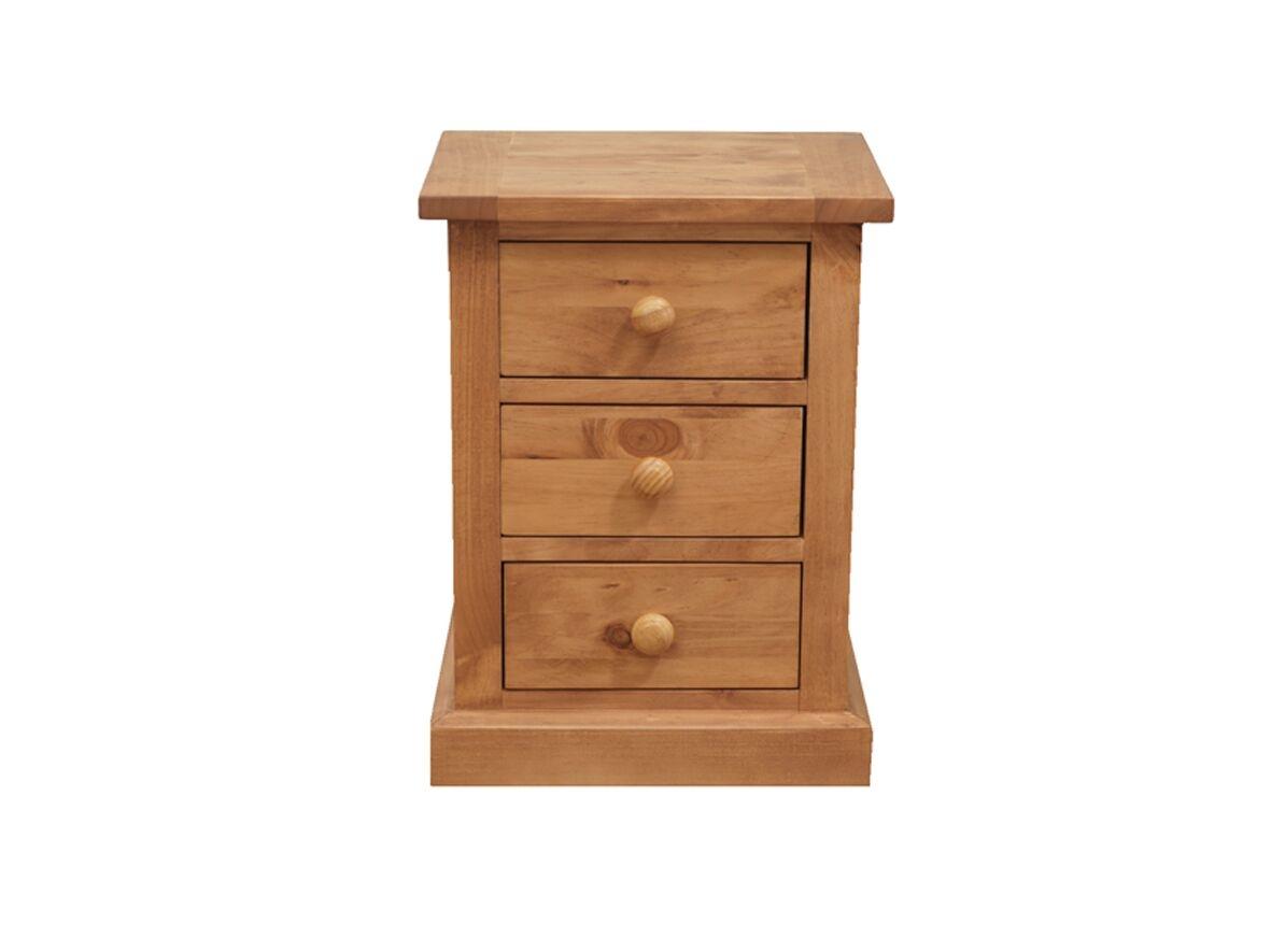 Noptiera din lemn de pin cu 3 sertare Devon Natural l42xA34xH57 cm