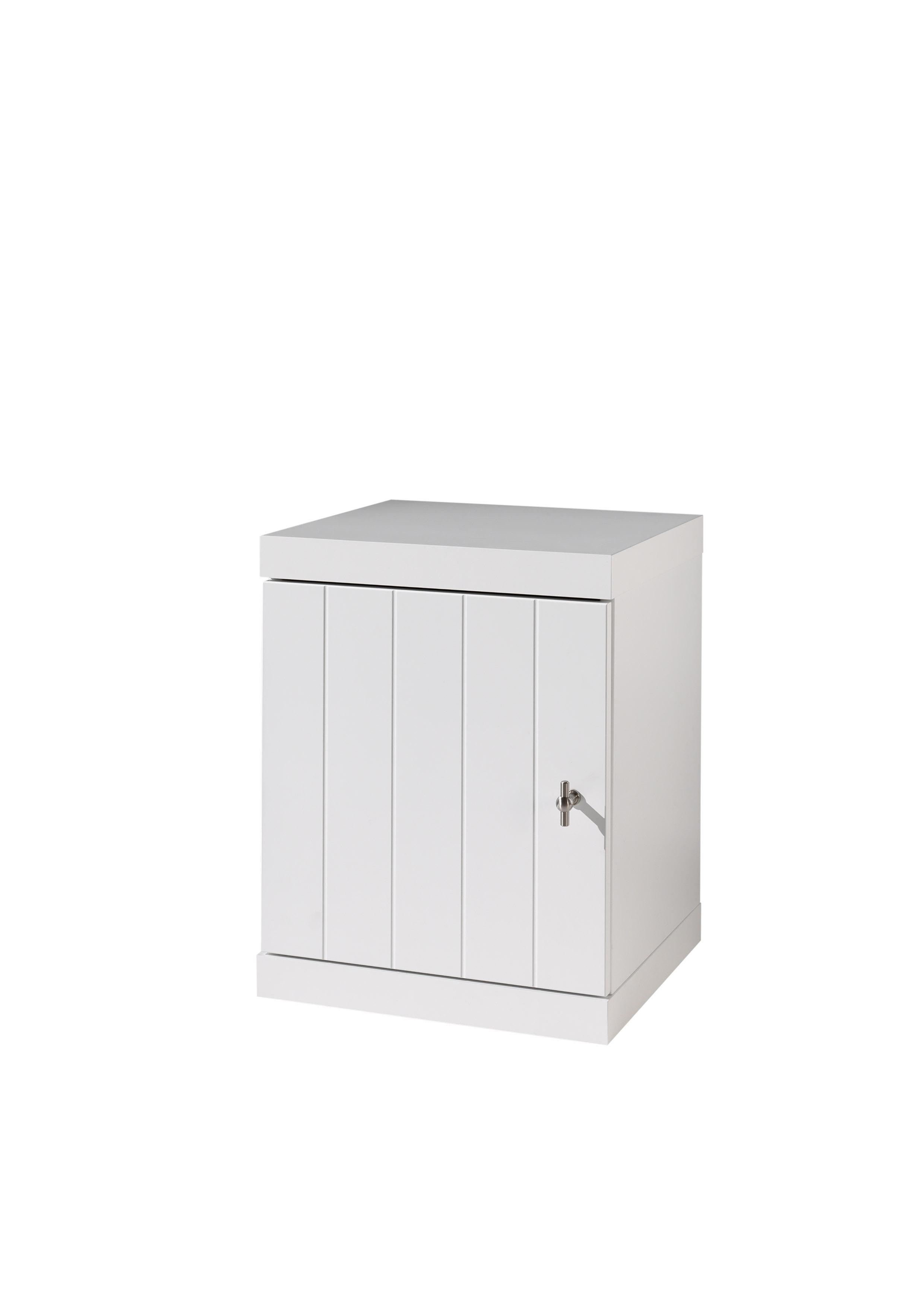 Noptiera din lemn de pin si MDF cu 1 usa, pentru copii Robin Alb, l44xA40xH55,5 cm poza