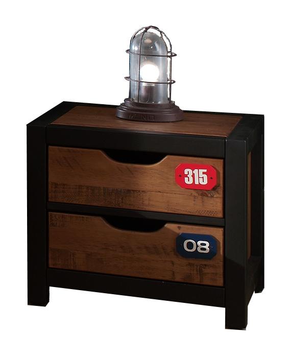 Noptiera din lemn de pin si MDF cu 2 sertare, pentru copii Alex Natural / Negru, l50xA45xH45 cm somproduct.ro