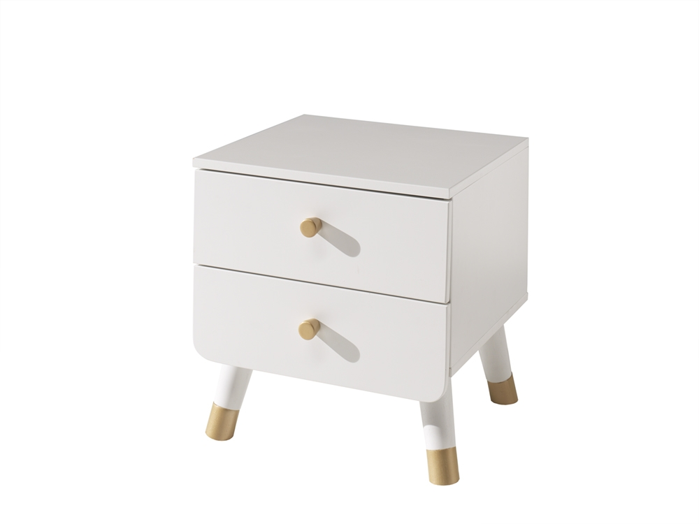 Noptiera din lemn de pin si MDF, cu 2 sertare pentru copii Billy Alb, l43,2xA40xH45,2 cm somproduct.ro