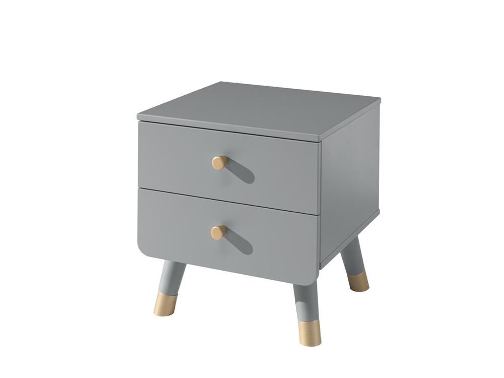 Noptiera din lemn de pin si MDF, cu 2 sertare pentru copii Billy Gri, l43,2xA40xH45,2 cm poza