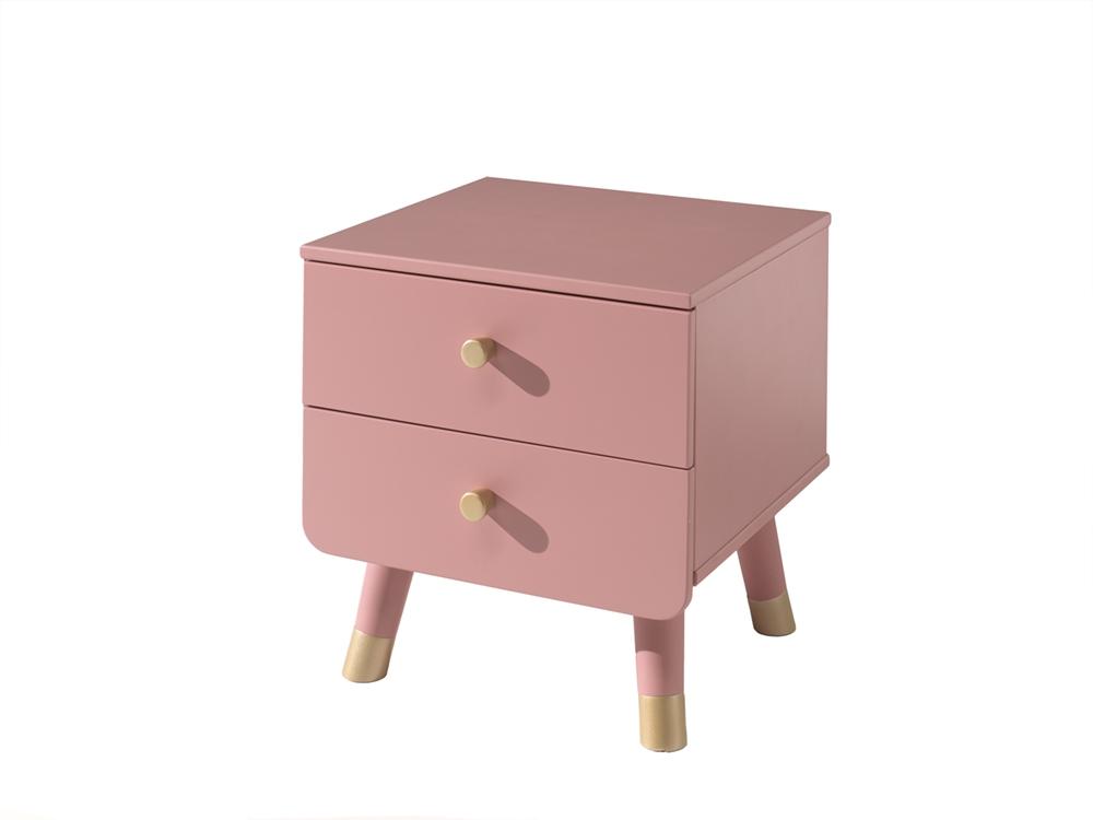Noptiera din lemn de pin si MDF, cu 2 sertare pentru copii Billy Roz, l43,2xA40xH45,2 cm poza