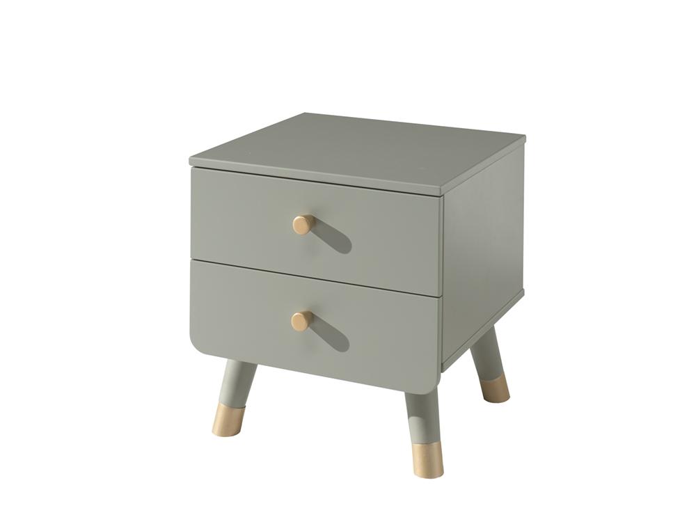 Noptiera din lemn de pin si MDF, cu 2 sertare pentru copii Billy Verde Olive, l43,2xA40xH45,2 cm poza