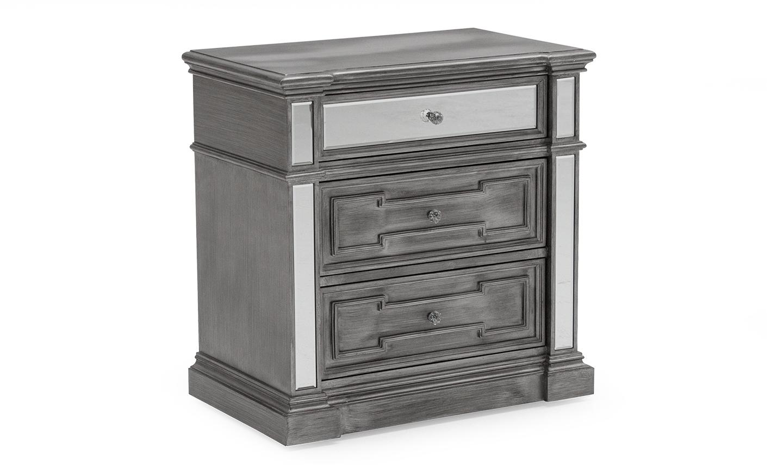 Noptiera din lemn de pin si MDF cu 3 sertare Ophelia Silver l712xA432xH711 cm