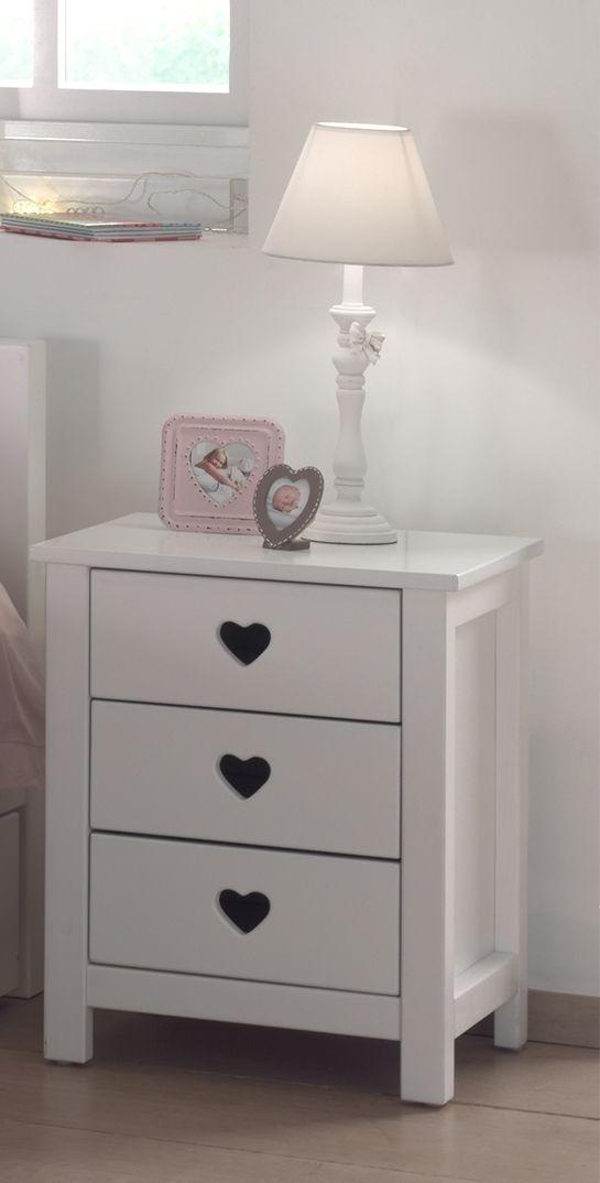 Noptiera din lemn de pin si MDF cu 3 sertare, pentru copii Amori Alb, l45xA40xH55,5 cm poza