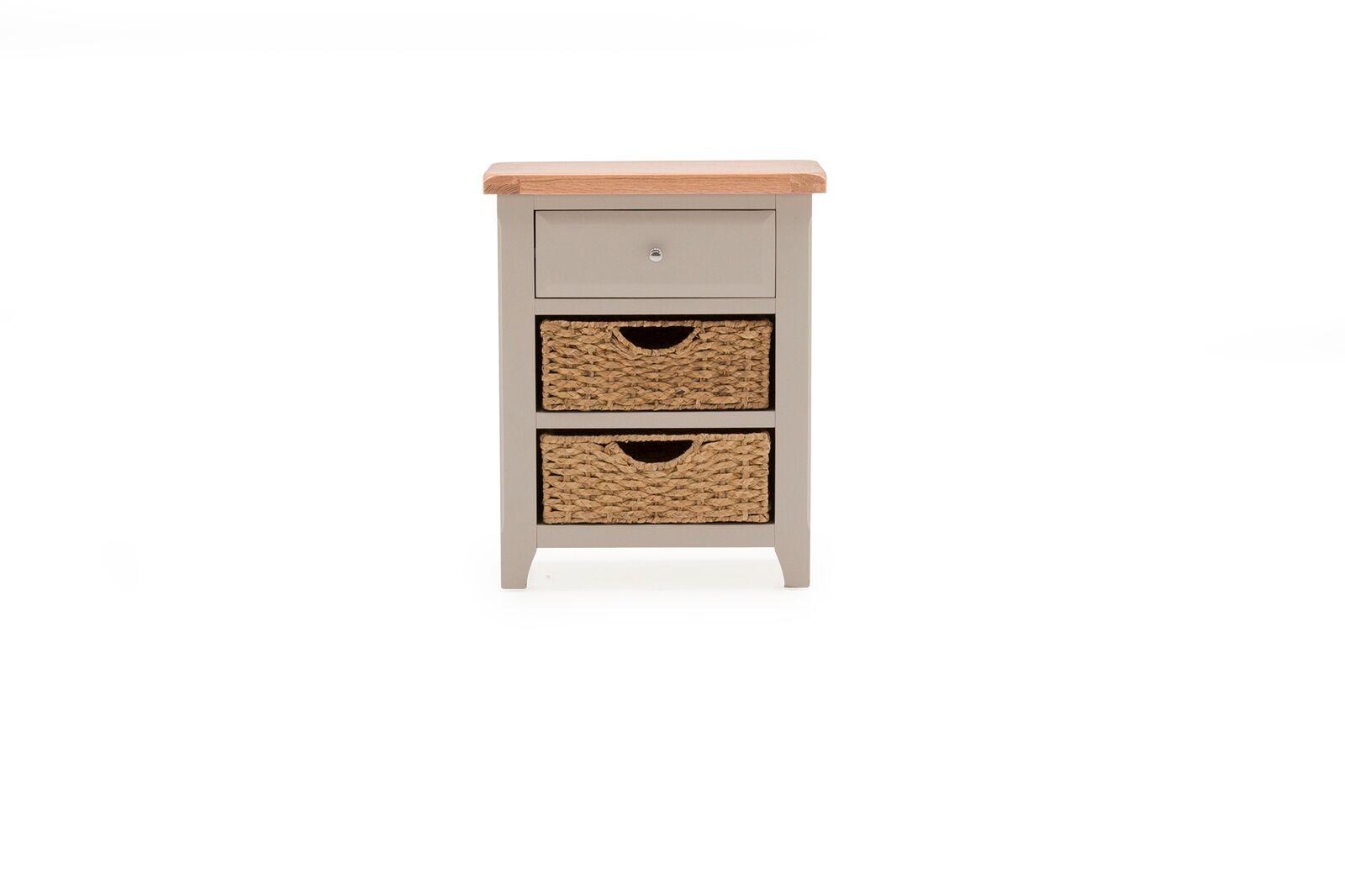 Noptiera din lemn de salcam si stejar cu 1 sertar si 2 cosuri de depozitare Clemence Grey / Oak l65xA35xH805 cm