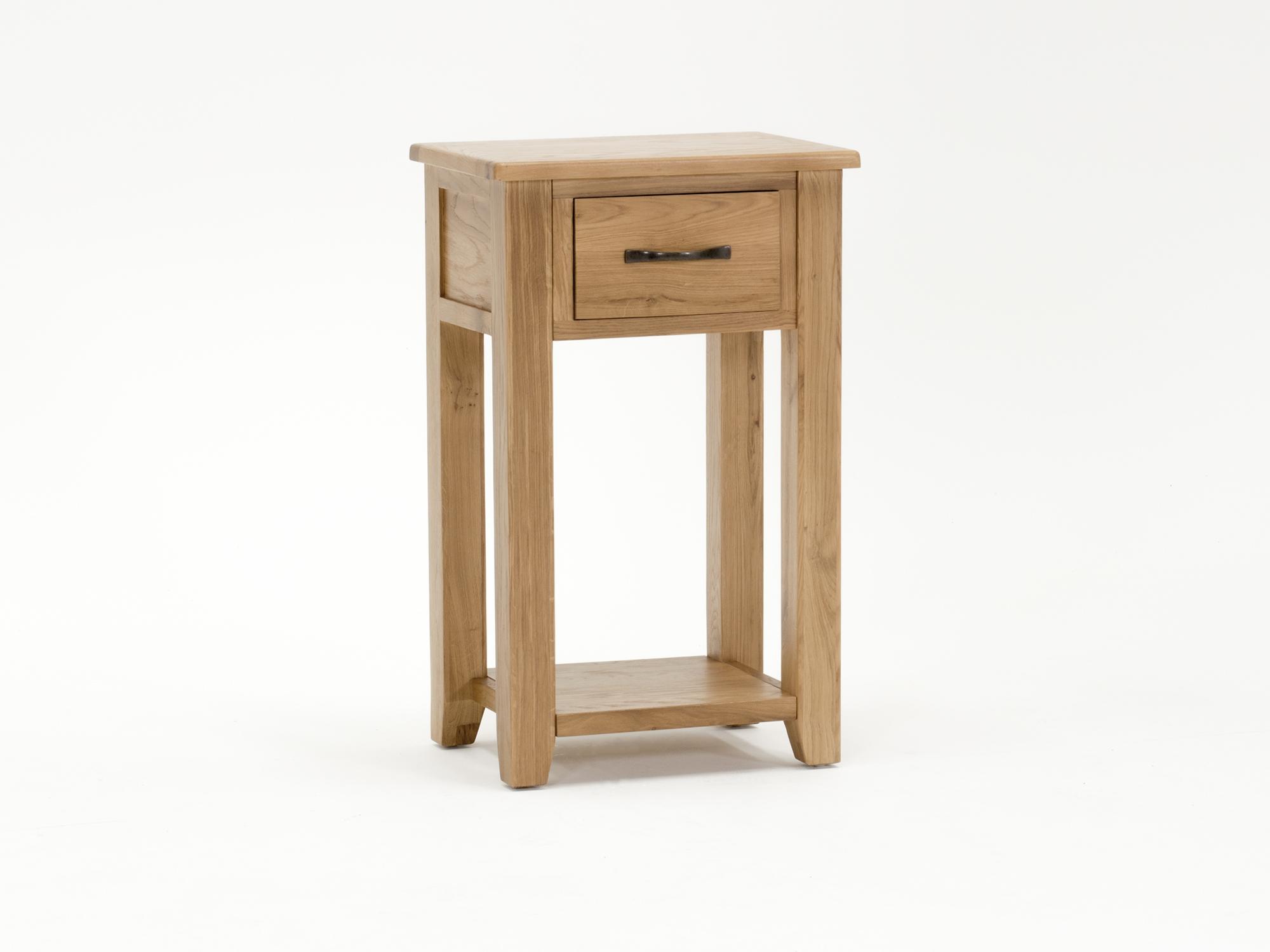 Noptiera din lemn de stejar si furnir cu 1 sertar Ramore Oak l48xA35xH78 cm