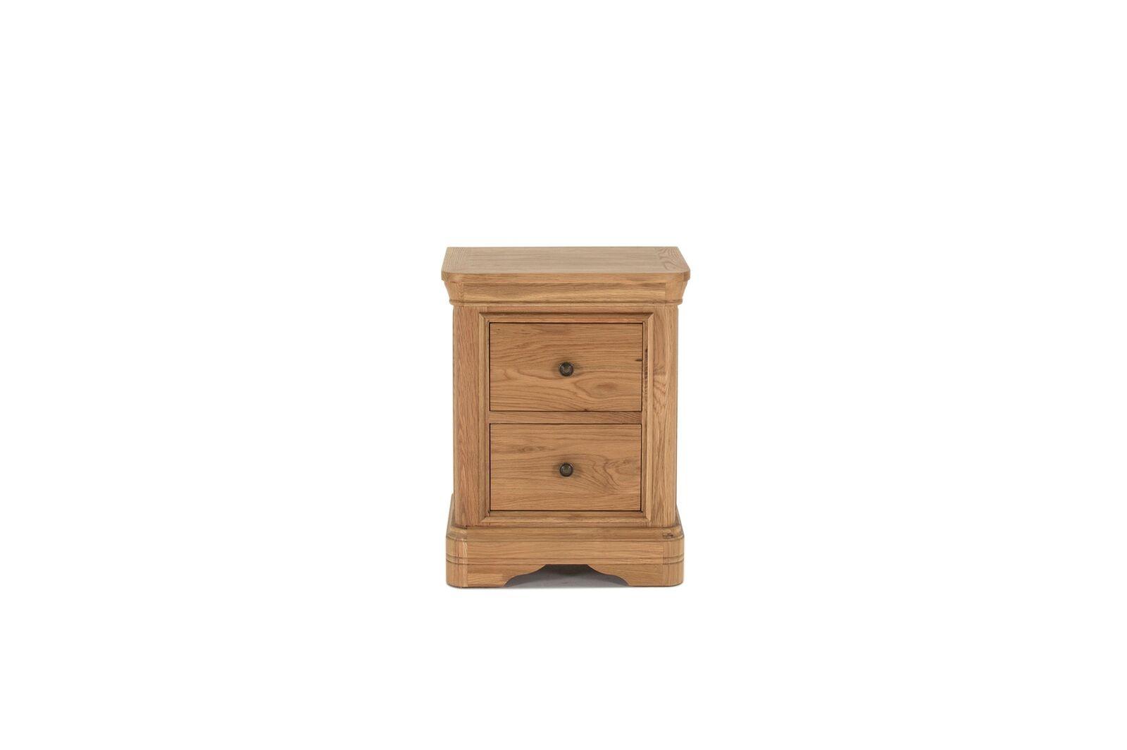 Noptiera din lemn de stejar si furnir cu 2 sertare Carmen Oak l52xA425xH67 cm