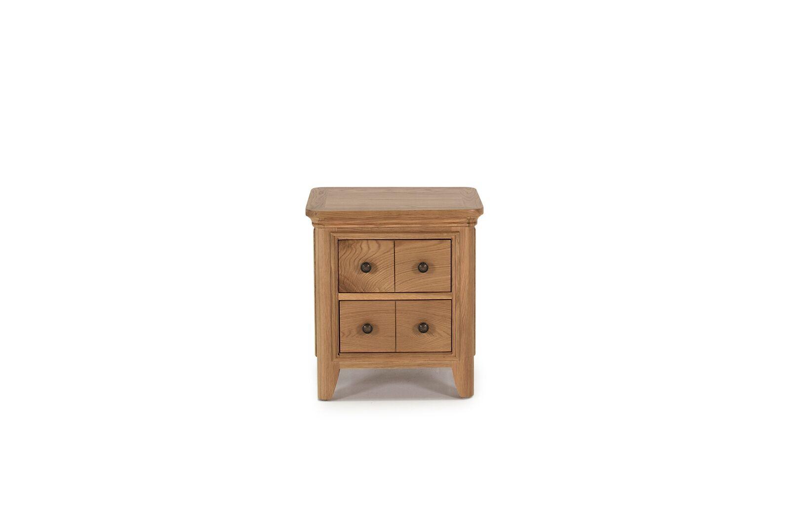Noptiera din lemn de stejar si furnir cu 4 sertare Carmen Oak l50xA45xH55 cm