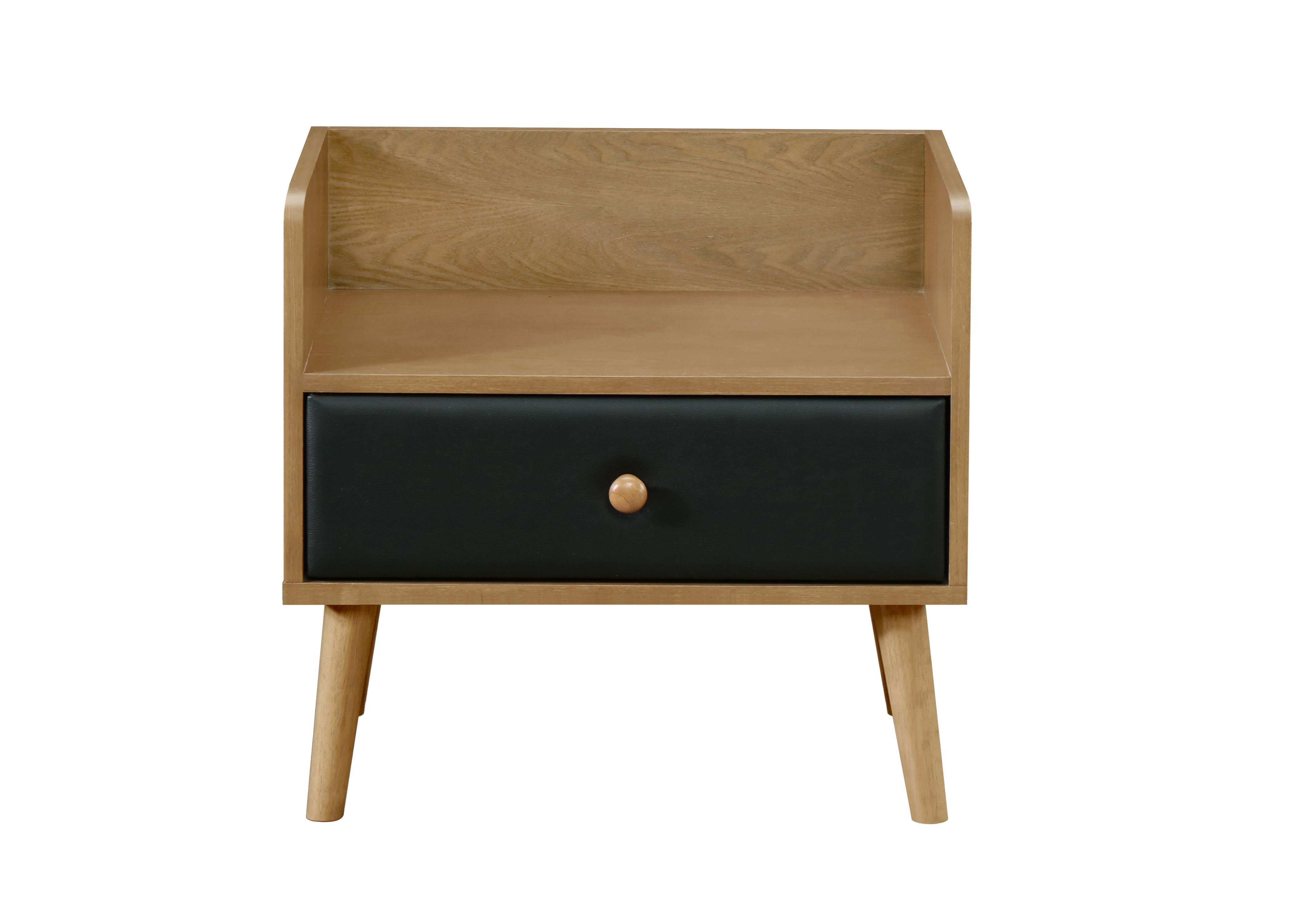 Noptiera din lemn si furnir, cu 1 sertar Ford Stejar / Negru, l58xA40xH55 cm imagine