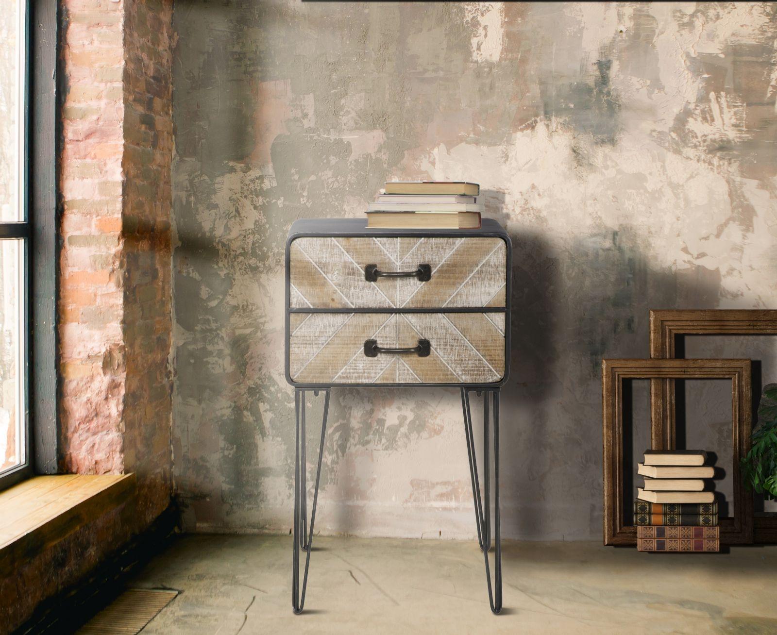 Noptiera din lemn si metal, cu 2 sertare Oklahoma Natural / Grafit, l41xA34,5xH70 cm imagine