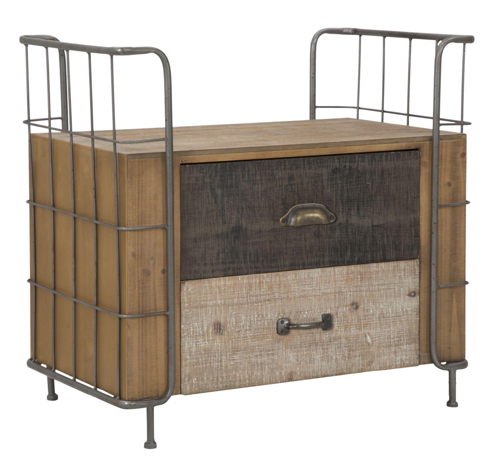 Noptiera din lemn si metal, cu 2 sertare Express Natural, l71,5xA43,5xH67 cm somproduct.ro