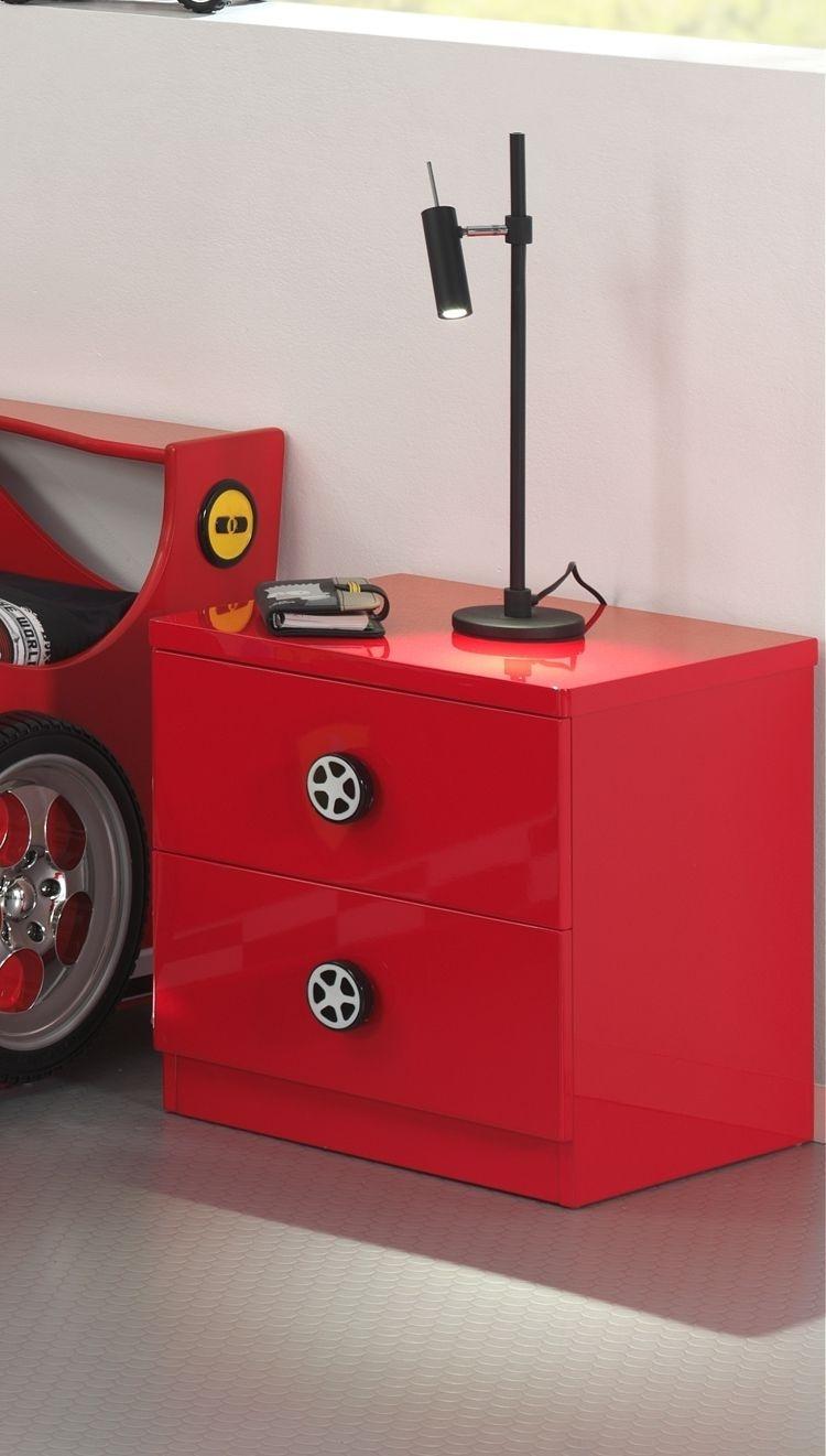 Noptiera din MDF cu 2 sertare, pentru copii Le Mans Rosu, l47xA47xH39,4 cm poza