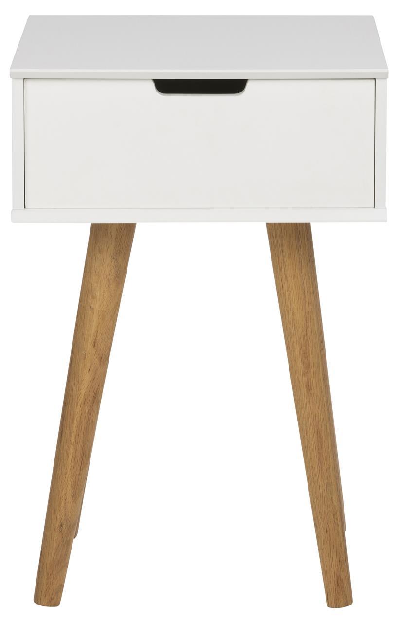 Noptiera din MDF Mitra Alb / Stejar, l40xA30xH61,5 cm