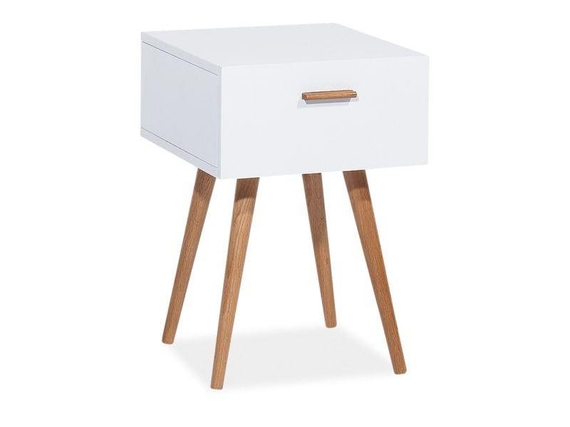 Noptiera din MDF si lemn, cu 1 sertar Milan S3 Alb / Stejar, l40xA42xH45 cm