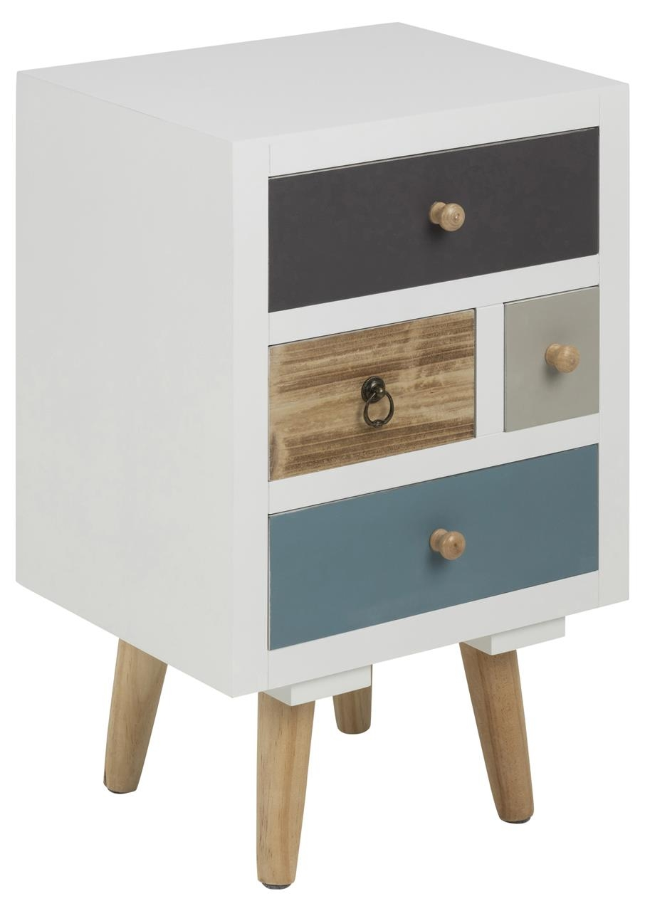 Noptiera din MDF si lemn, cu 4 sertare Thais Multicolor, l36xA30xH59 cm somproduct.ro
