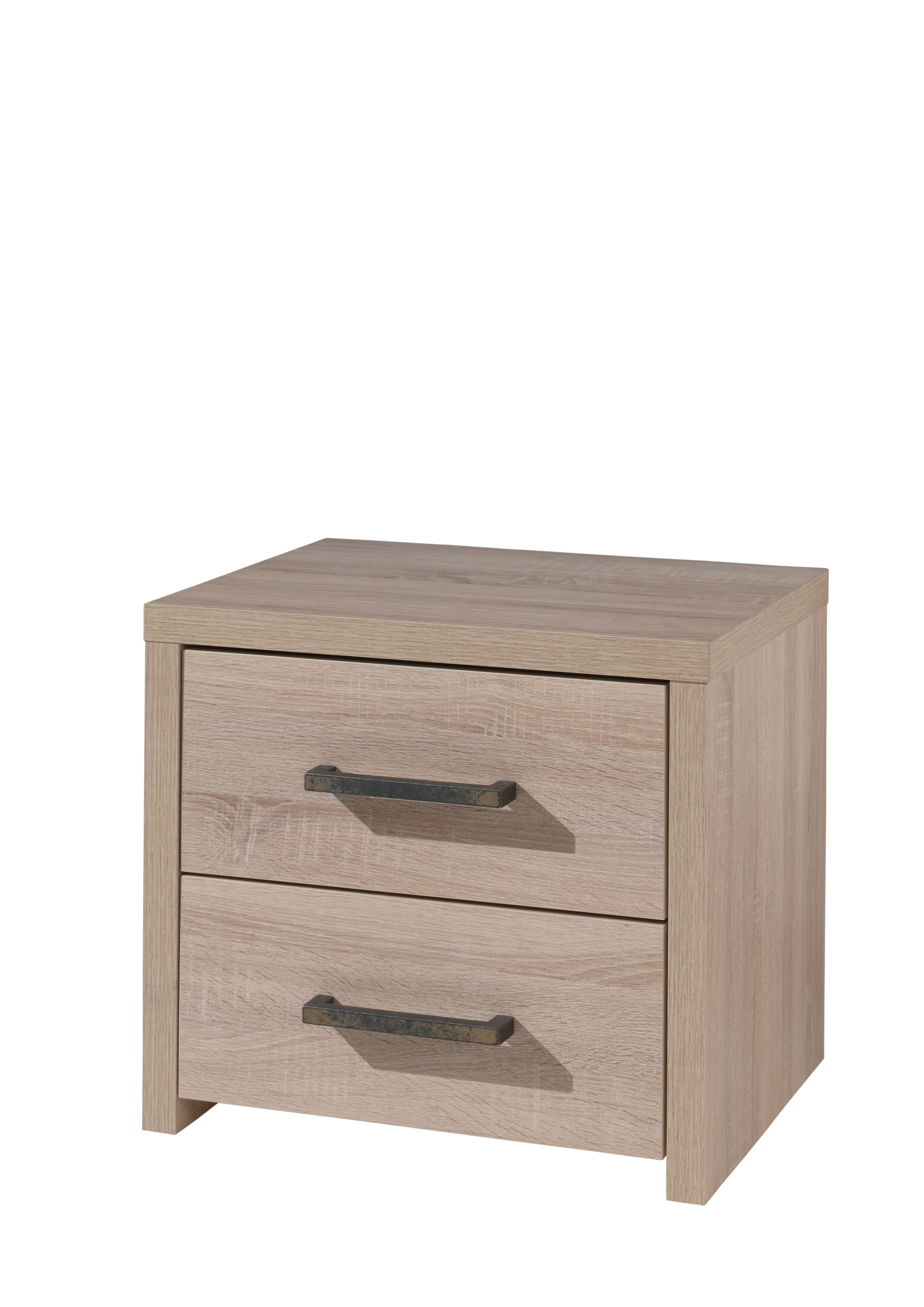 Noptiera din pal cu 2 sertare, pentru copii Aline Stejar deschis, l50xA40xH45,5 cm poza
