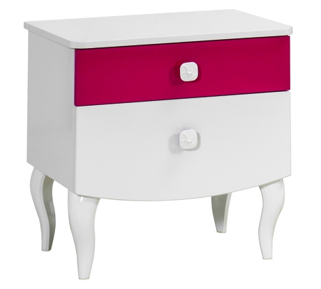 Noptiera din pal cu 2 sertare pentru fete si tineret Yakut White / Dark Pink l54xA39xH54 cm