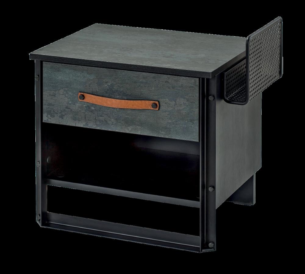 Noptiera din pal si metal cu 1 sertar, pentru tineret Dark Metal Black / Graphite, l55xA40xH53 cm poza