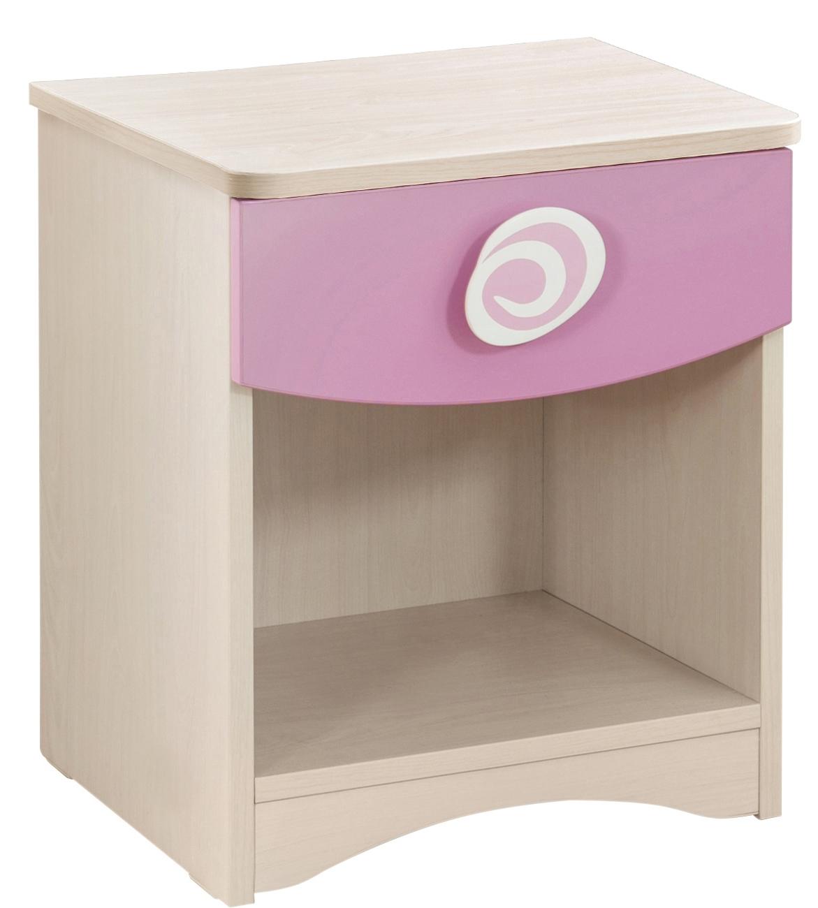 Noptiera din pal cu 1 sertar, pentru copii Little Princess Pink / Nature, l40xA41xH47 cm poza