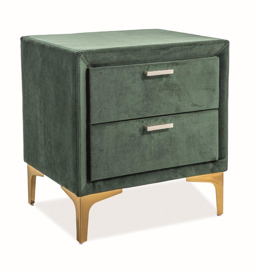 Noptiera tapitata cu stofa si 2 sertare Antonio Velvet Verde / Auriu, l51xA41xH54 cm