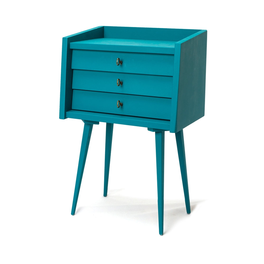 Noptiera din lemn de fag cu 3 sertare Victoria Blue l42xA27xH65 cm