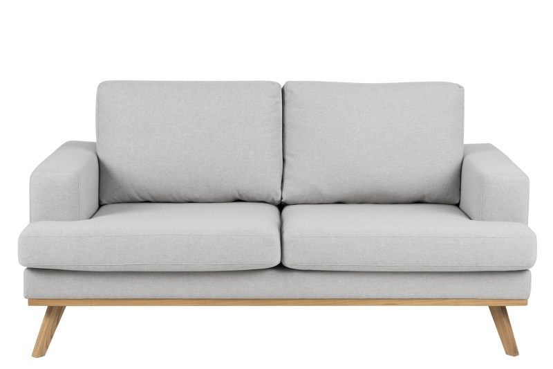 Canapea 2 locuri tapitata cu stofa Norwich Light Grey / Oak