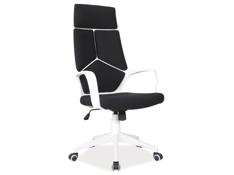 Scaun de birou directorial tapitat cu stofa Q-199 Black / White, l63xA46xH114-124 cm