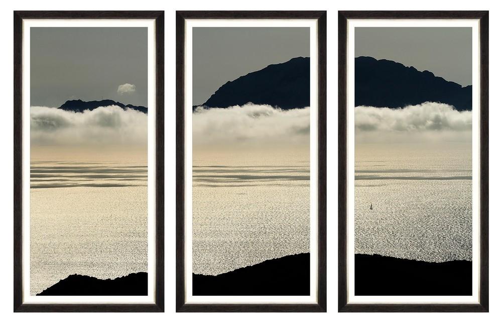 Tablou 3 piese Framed Art Ocean And Clouds