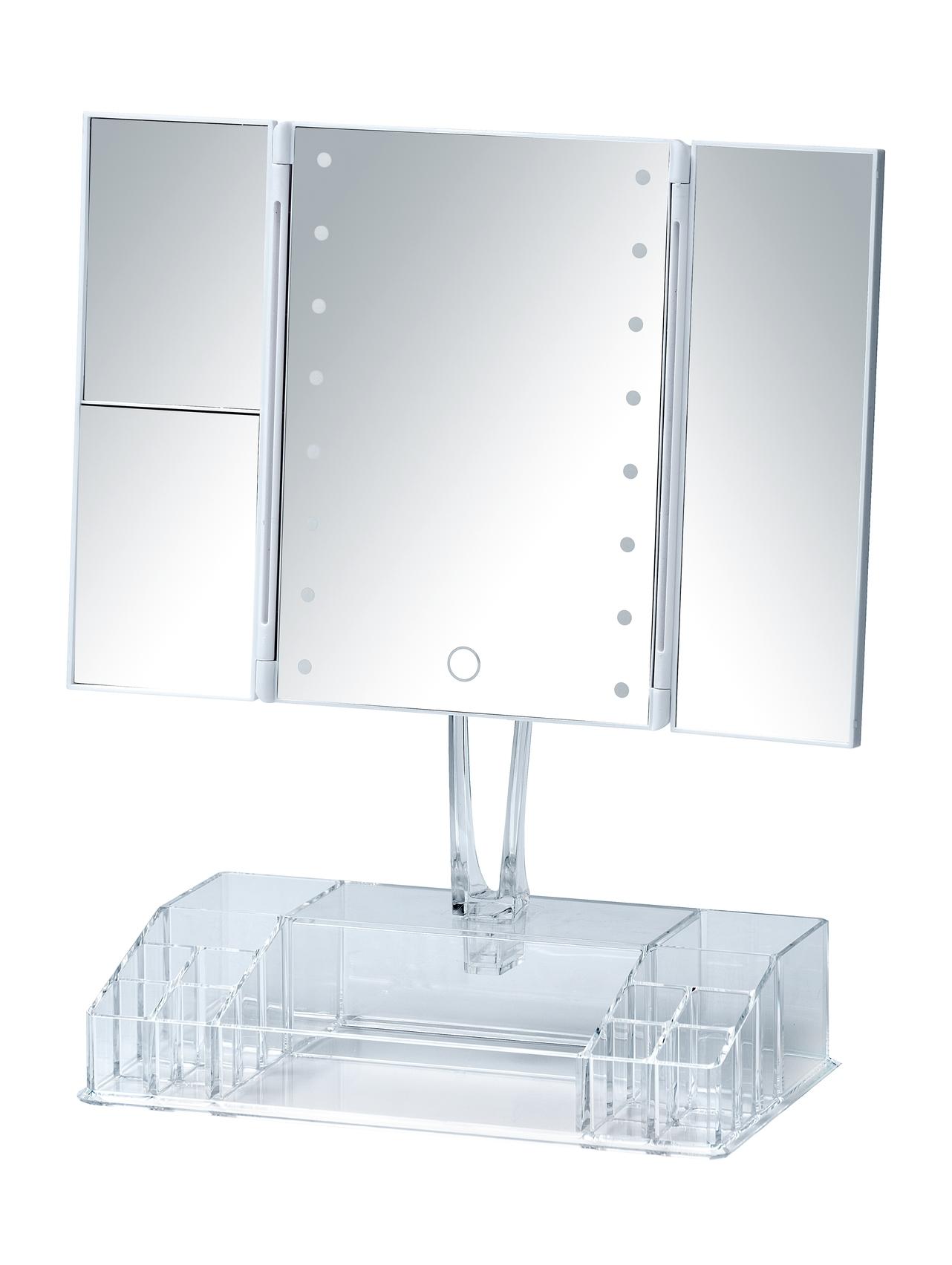 Oglinda cosmetica de masa, cu LED si organizator din plastic, Fanano Transparent, L34,5xl16,5xH39 cm imagine