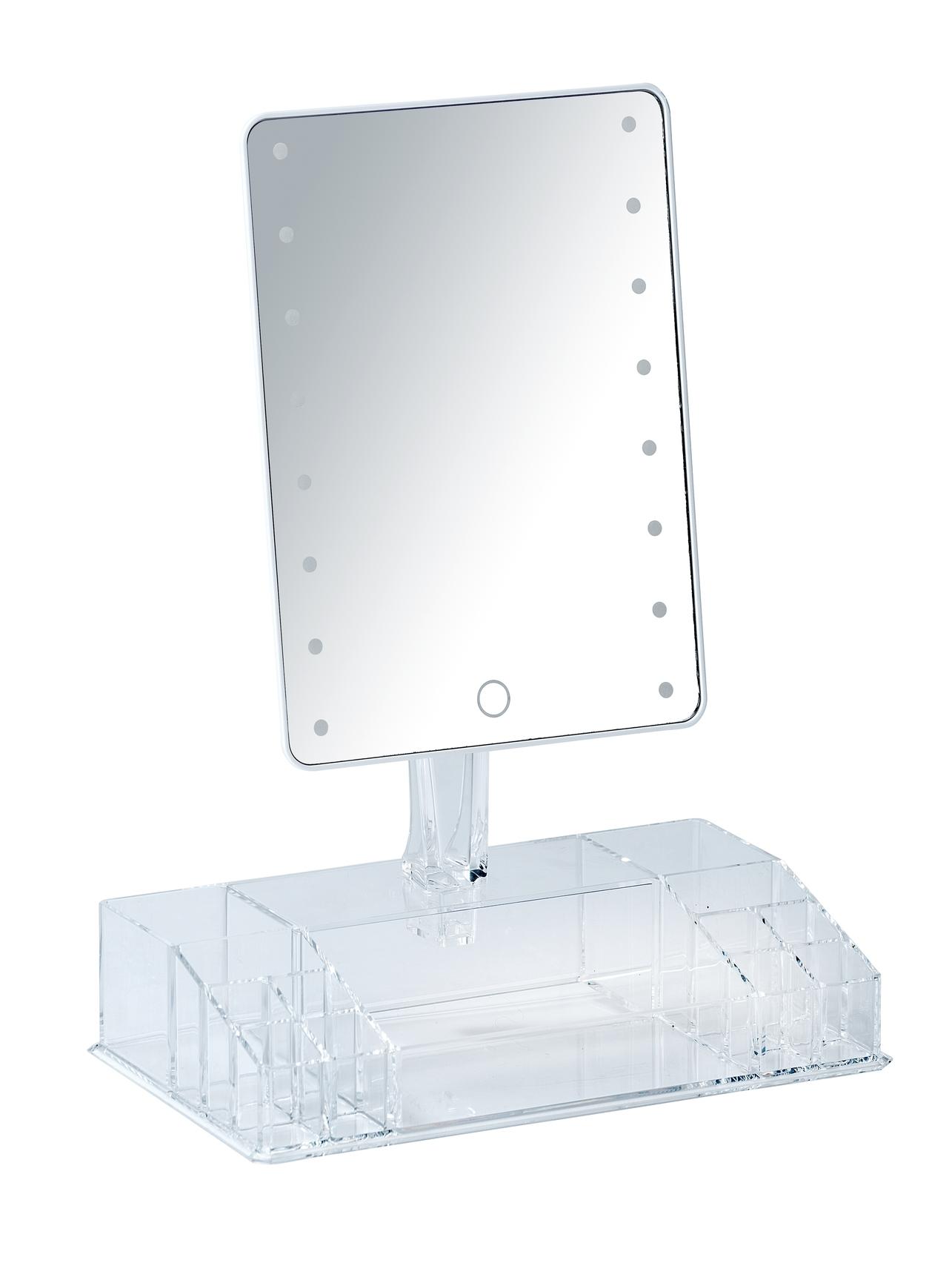 Oglinda cosmetica de masa, cu LED si organizator din plastic, Farnese Transparent, L27xl16xH36 cm imagine