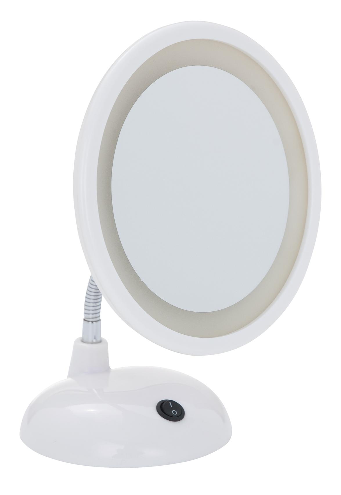 Oglinda cosmetica de masa, cu LED, Style Alb, Ø16xH28 cm imagine
