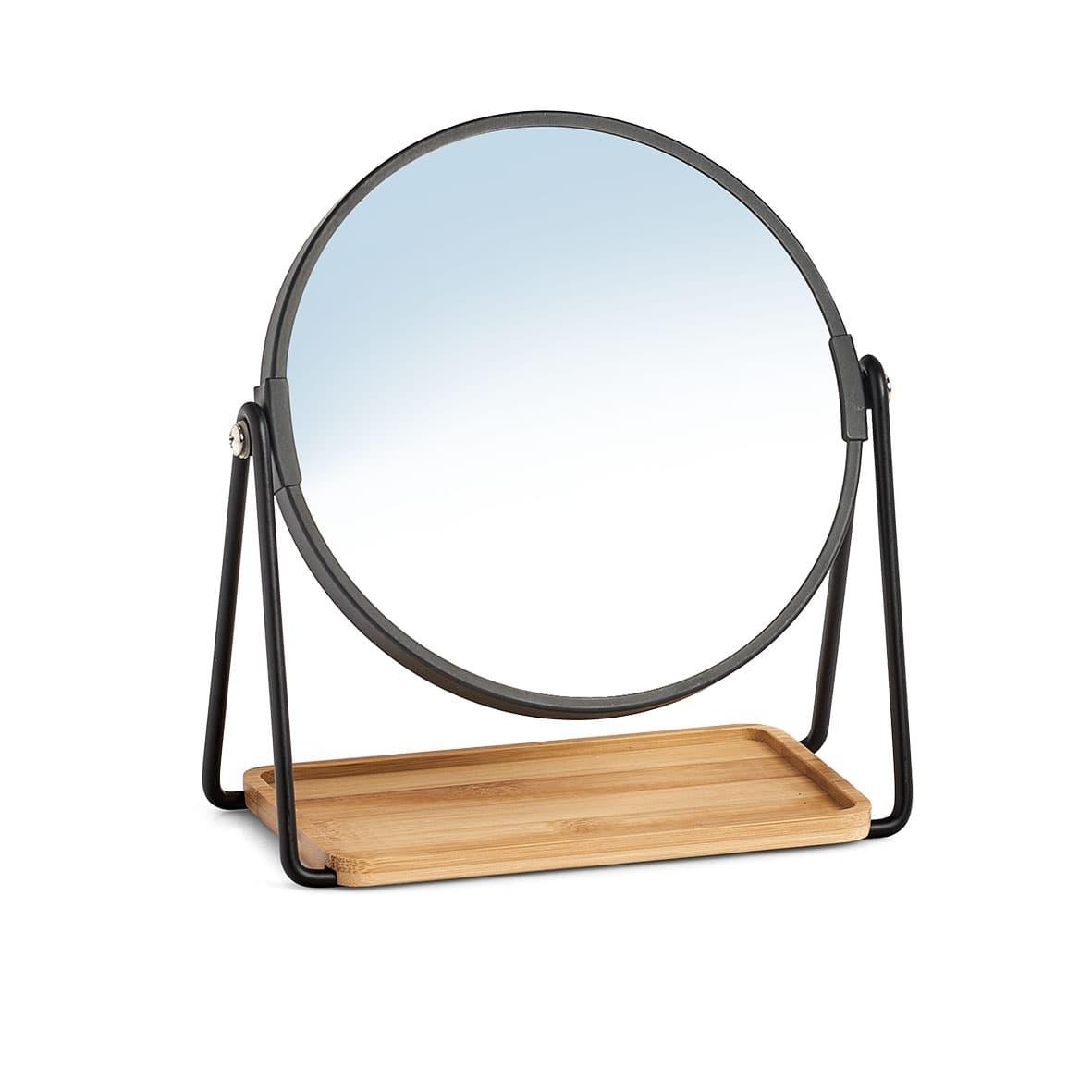 Oglinda cosmetica de masa, Shine Negru / Natural, Ø17,5xH20,5 cm poza