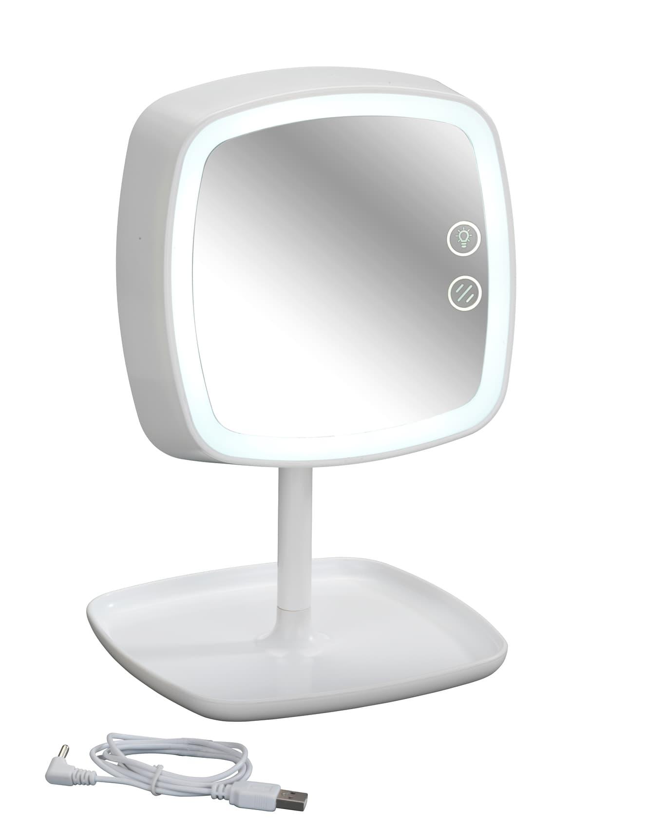 Oglinda cosmetica tactila cu lampa LED din plastic, cablu USB, Ostia Alb, L19xl18xH29 cm poza