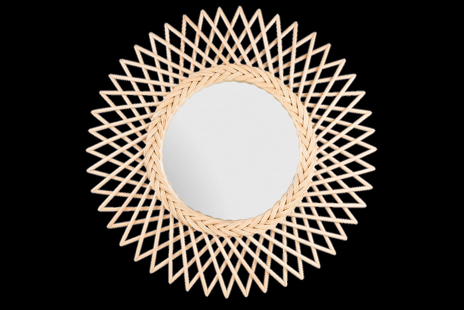 Oglinda cu rama din rattan Flower O 60 cm