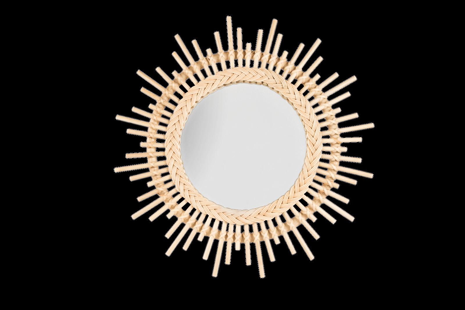 Oglinda cu rama din rattan Sunshine, Ø 60 cm